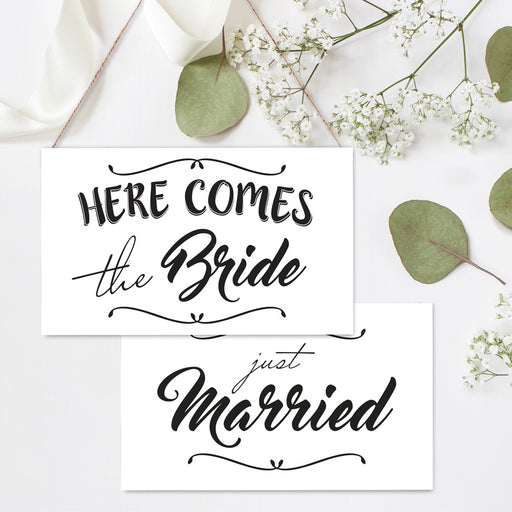 Hanging Board White 2 sided 'Here Comes the Bride'