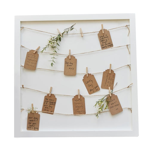 Wooden Peg & String & Tag Frame Alternative Guestbook