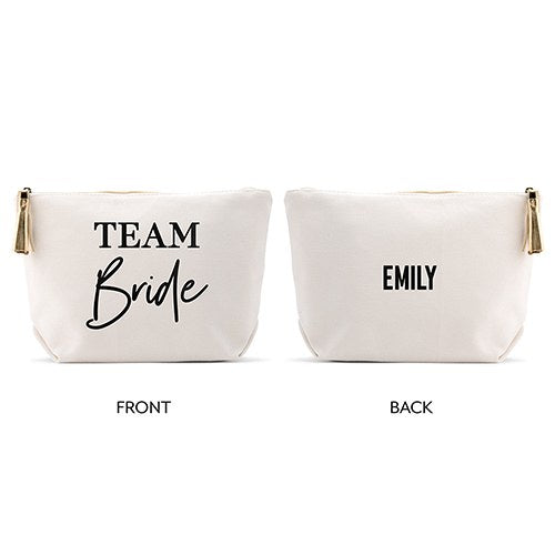 Team Bride - Personalised Canvas Makeup And Toiletry Bag For Women