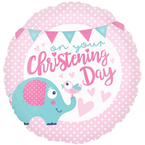 Balloon Foil Round Shape - Christening Day Pink - 18''