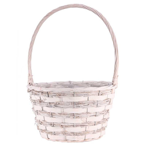 Pickwell Round Basket with Handle - White
