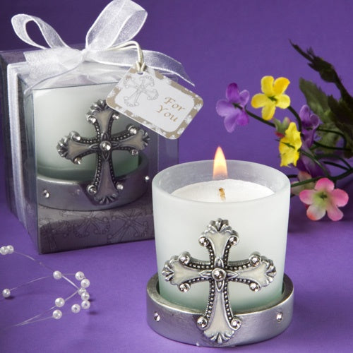 Cross Design Glass Candle Holder