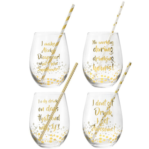 Glasses - Gold Stemless - Set of 4