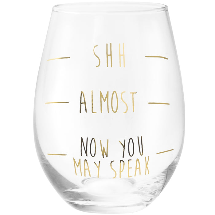Stemless Glass - Gold Shh