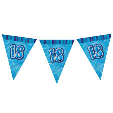 18th Birthday Blue Flag Banner - Plastic - 3.65m