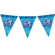 90th Birthday Blue Flag Banner - Plastic - 3.65m