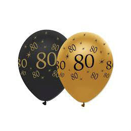 Latex Balloons Black & Gold 80