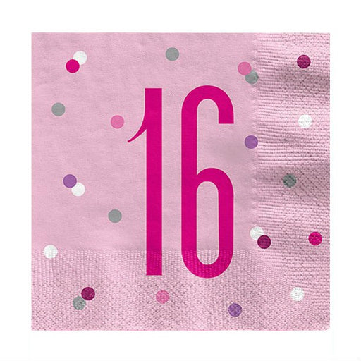 Lunch Napkins - Pink Glitz 16 - 16pk
