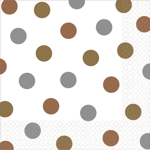 Luncheon Napkins - Metallic Polka Dots - 16pk