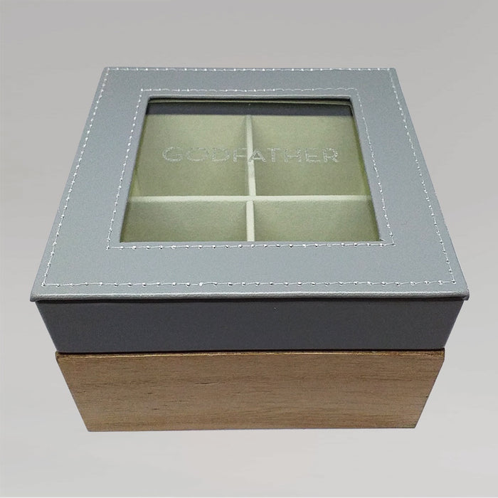 Wood And Faux Leather Keepsake Box With Glass Lid - Godfather