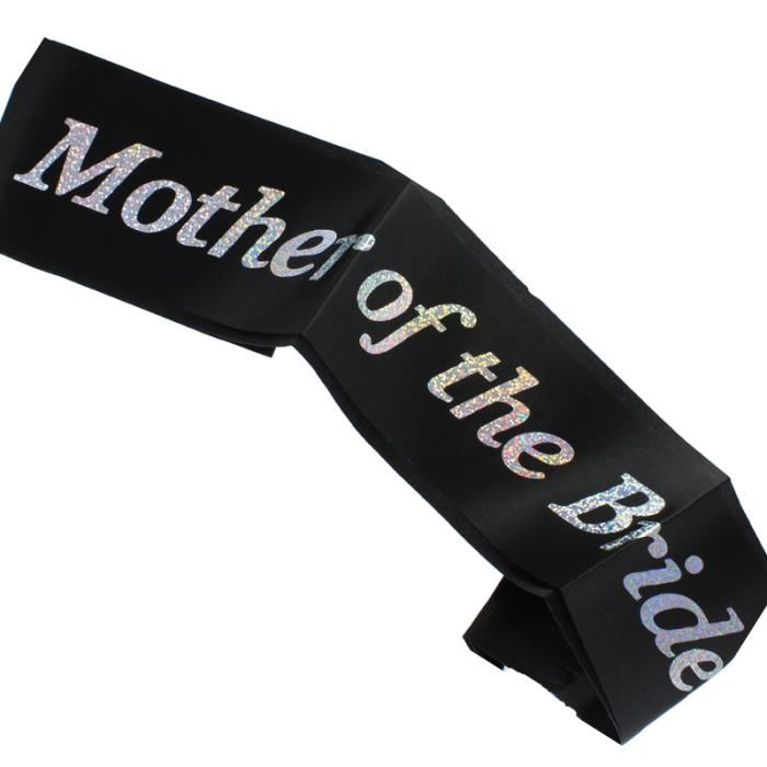 Black Satin And Diamante Mother of The Bride Sash