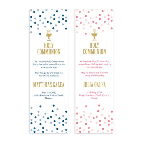 Bookmarks Personalized - Holy Communion - Spots Design - BMK07-18