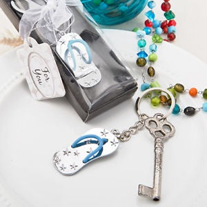 Disc Beach Themed Metal Flip Flop Key Chain