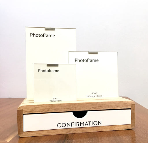 'Confirmation' Glass Picture Frame And Wooden Desk Organizer - Modern Centred Print