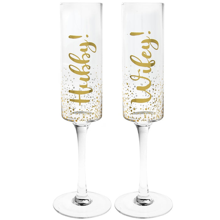 Champagne Glasses - Hubby and Wifey Flute Set