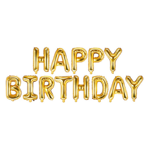 Phrase Foil Balloon - Happy Birthday Gold - 134 x 14""