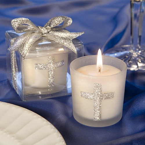Cross Silver Glass Candle Holder
