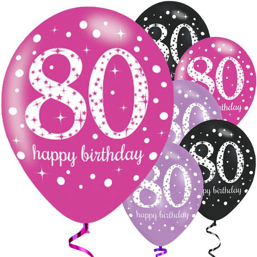 Balloons Latex Pearl - Pink Sparkling Celebration - Happy 80th Birthday