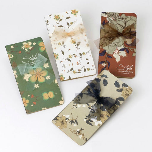 Kraft Notebook - Floral Cover with Ribbon