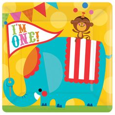 Circus 1st Birthday Square Paper Plates