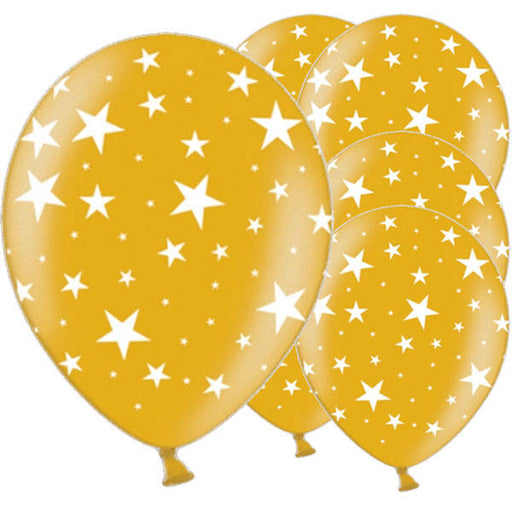 Balloon Latex with Stars - Gold 11''