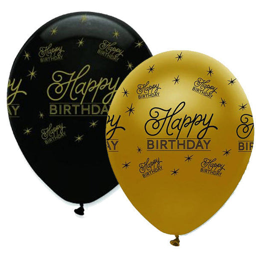 Latex Balloons Black & Gold Happy Birthday