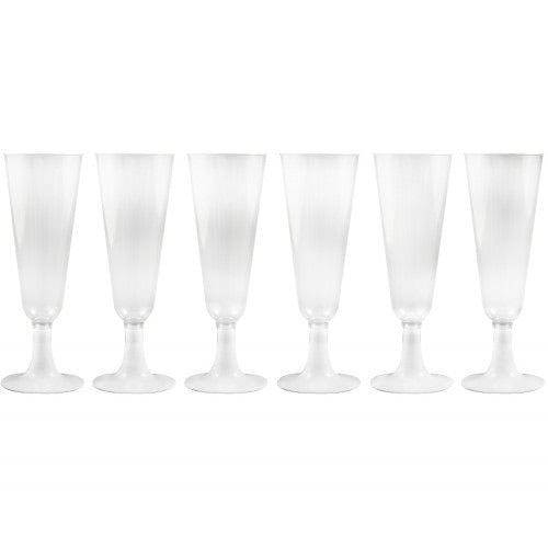 Champagne Plastic Glasses - 6Pc
