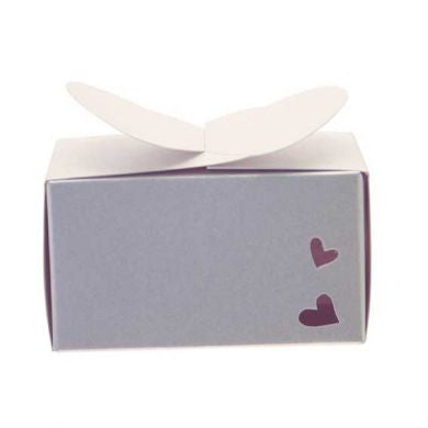 White Rectangle Heart Favour Box