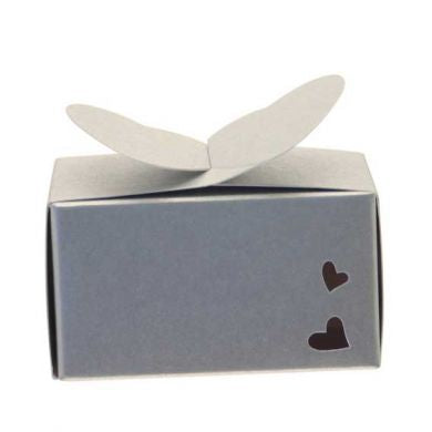 Silver Rectangle Heart Favour Box