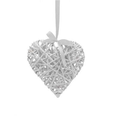 White Wicker Heart 25cm