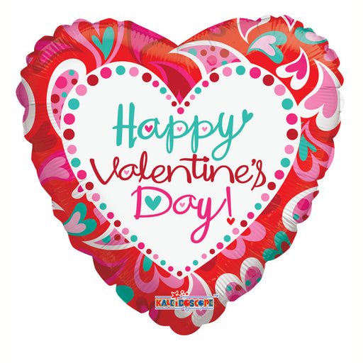 Happy Valentines Day Fancy Hearts Foil Balloon - 18 ''