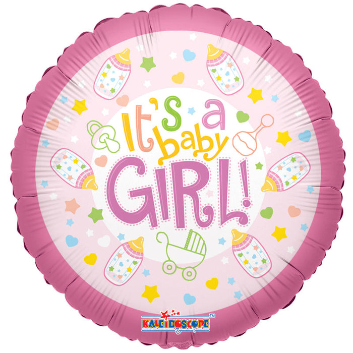 Balloon Foil Round Shape - Baby Bottle Design - It's a Girl 18""