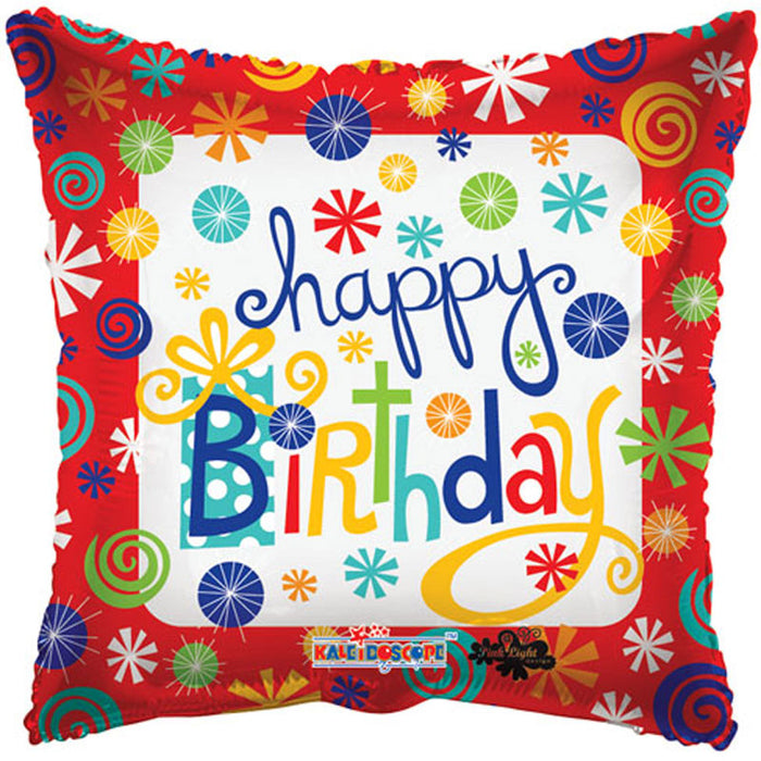 Balloon Foil Square Shape - Swirls and Colours - Happy Birthday 18''