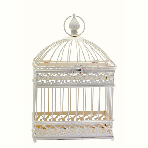 Bird Cage Cream With Rectangular Base - Rental (H39.5Cm)