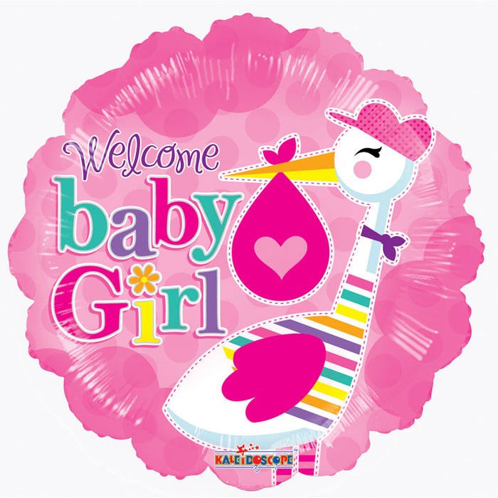 Balloon Foil Round Scallop Shape - Stork - Welcome Baby Girl 18''