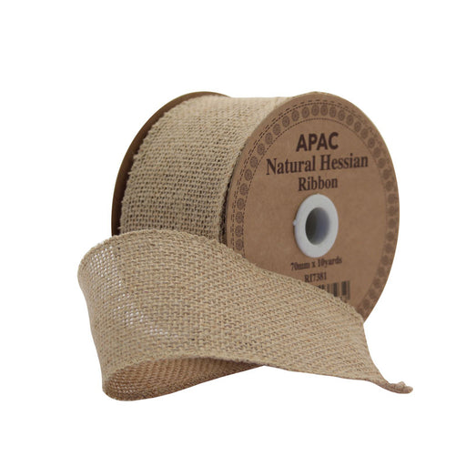 Natural Hessian Ribbon (70mm X 10Yds)