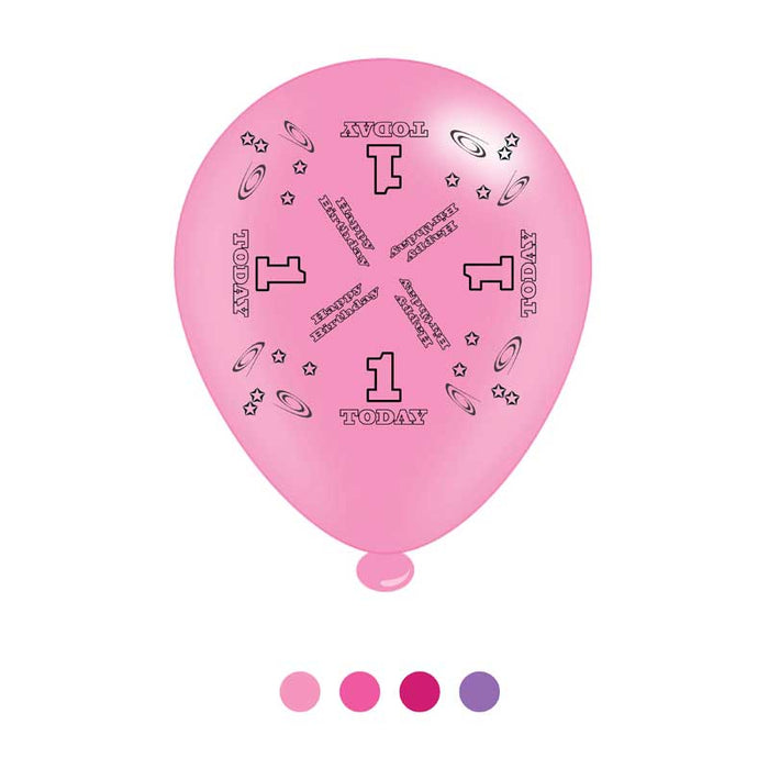 Age 1 Pink Birthday Latex Balloons