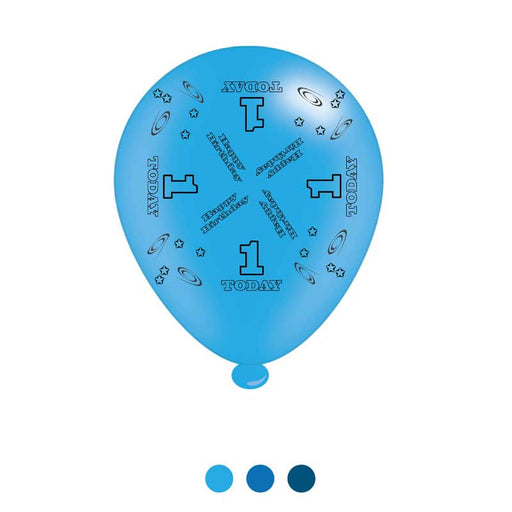 Age 1 Blue Birthday Balloons Latex