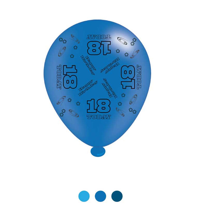 Age 18 Blue Birthday Latex Balloons
