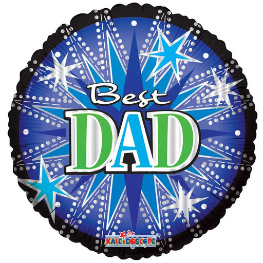 Balloon Foil Round Shape - Stars Design - Best Dad 36''