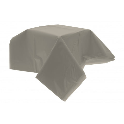 Silver Plastic Table Cover (54 X 104 Inch)
