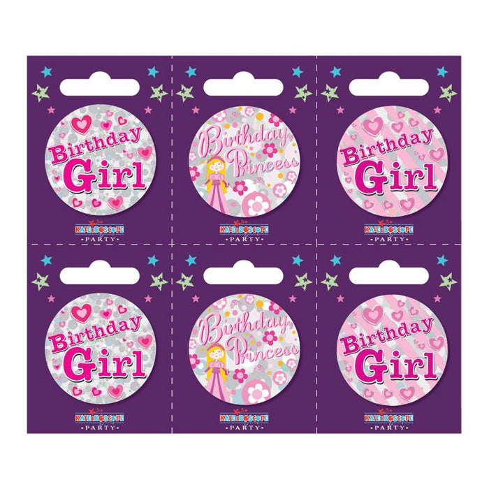 Birthday Girl Small Badge with Stripes