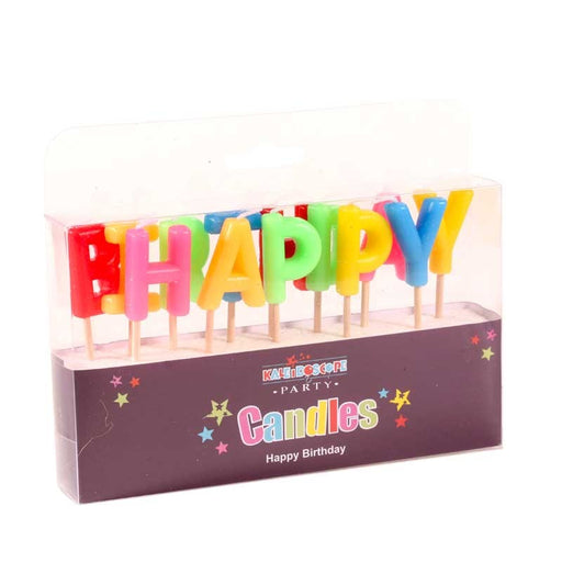 Happy Birthday Pick Candle- Multi Colour