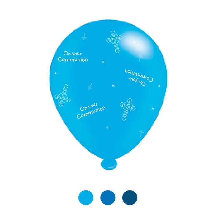 Balloons Latex - 1st Holy Communion - Blue Mixed 8pk