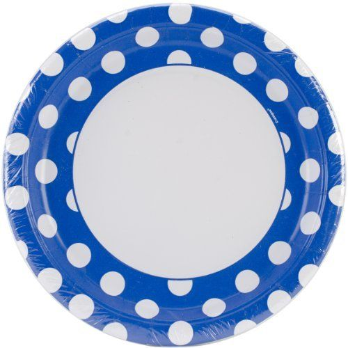 Blue Polka Dot Plates - 23cm Party Plates
