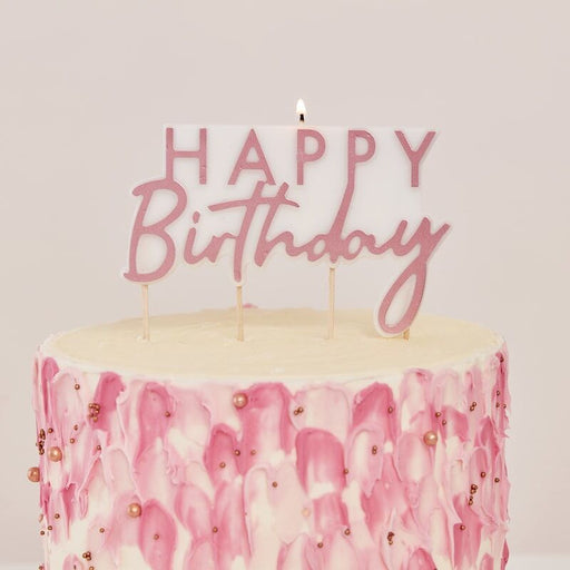 Mix It Up - Rose Gold Happy Birthday Candle