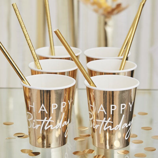 Mix It Up - Gold Foiled Happy Birthday Paper Cups