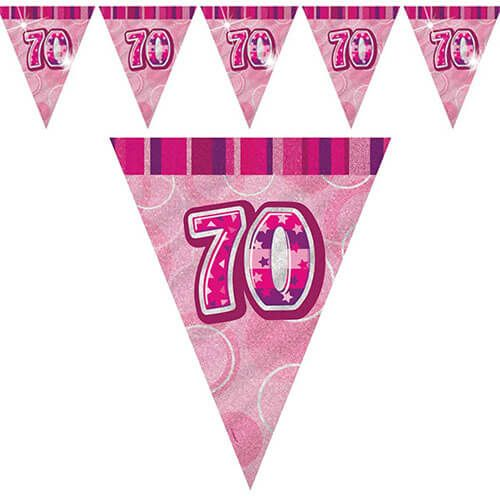 70th Birthday Pink Flag Banner - Plastic 3.65m