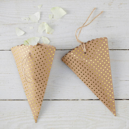 Gold Foiled Confetti Cones - Kraft Perfection
