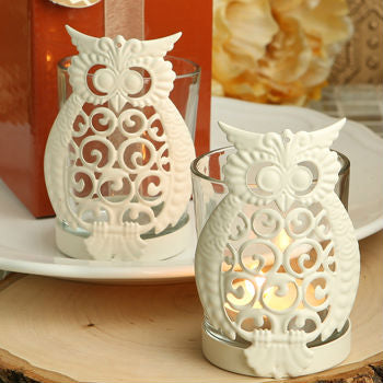 Disc Owl Design Metal & Glass Votive Candleholders